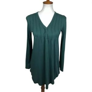 Alternative Henley Pima Cotton Tunic Top Teal